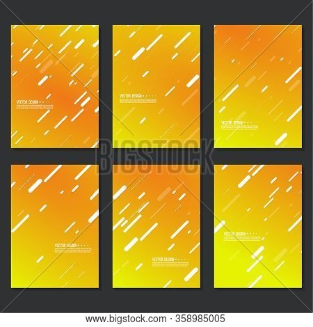 Set Of Vector Abstract Modern Backgrounds With Diagonal Slashes Stripes. Collection Of Covers, Bookl