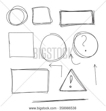 Set Hand Drawn Text Box And Frames, Quotes, Question, Exclamation Mark, Arrow, Underline Felt-tip Pe