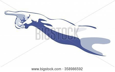 Pointing Hand Sketch In Blue Colors Creation Concept