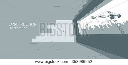 Construction Vector Illustration, Unfinished Building Interior In Progress And Cranes Beyond The Win