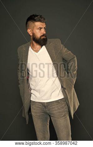 No Man Born Stylish. Stylish Businessman Grey Background. Bearded Man With Brutal Stylish Look. Casu