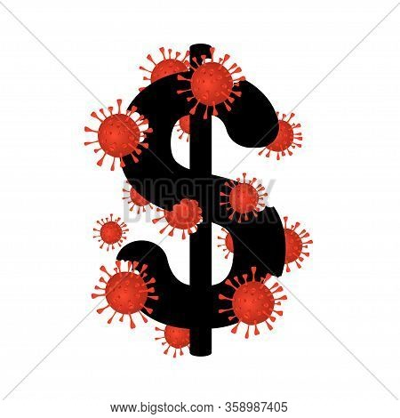 Coronavirus 2019-ncov Attack The Dollar Sign. Dollar As A World Currency Symbol Isolated On Backgrou