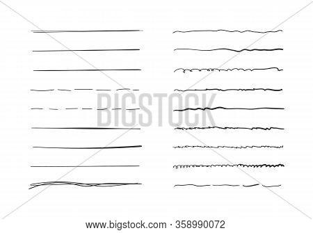 Set Of Wavy Horizontal Lines. Marker Hand-drawn Line Border Set And Scribble Design Elements. Set Of
