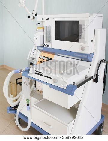 Image Of Medical Ventilator. Hospital Respiratory Ventilation. Patient Life Saving Machine. Intensiv