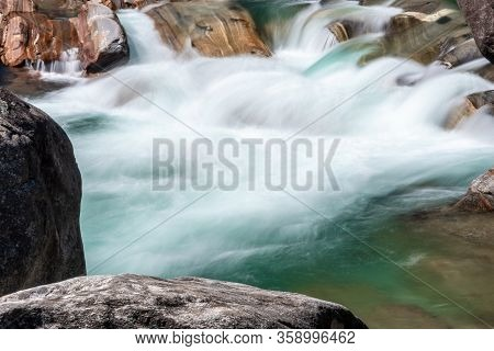 Bed Of The Versasca River In Lavertezzo, Valle Versasca. The River With The Cleanest Water In The Wo