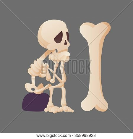 Funny Cartoon Skeleton Posing Sitting On A Stone And Looking At The Bone. Vector Bony Character. Hum