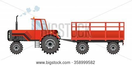 Red Farm Tractor Which Carries A Trailer. Heavy Agricultural Machinery For Field Work Transport For