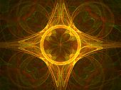 Abstract ornament. Orange palette. Raster fractal graphics. poster