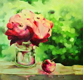 Hand-drawn Illustration With Bright Roses. Oil Painting.