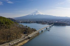 Aerial View Of Mt Fuji And Kawaguchiko In Japan