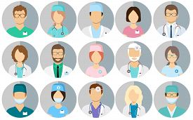 Avatar Doctors. Medical Staff - Set Of Icons With Doctors, Surgeons, Nurses And Other Medical Practi