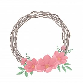 Easter Wreath With Spring Flowers On A White Background. Digital Illustration