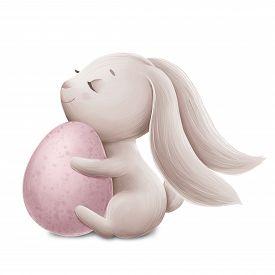 Little Bunny With A Blue Easter Egg. Digital Illustration
