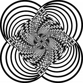 Abstract Arabesque Spider Like Circle Stellar Game Structure Illusion Perspective Design Black On Tr