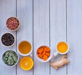 Ingredients For Immune Boosting Tea- Herbs, Ginger, Orange, Honey And Rosehips Berries. Immunity Sup