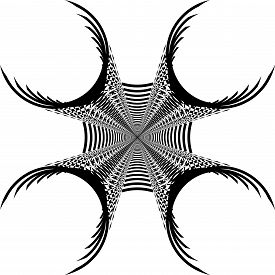 Abstract Arabesque Inside Tower Like Circle Game Structure Illusion Perspective Design Black On Tran