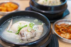 Close-up View Of Korean Ginseng Chicken Soup