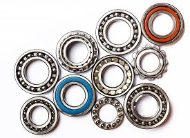 Set Of Various  Roller Bearing On White Background Isolated. Metal  Autotechnology Background.  Part