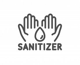 Hand Sanitizer Line Icon. Sanitary Cleaning Sign. Washing Hands Symbol. Quality Design Element. Edit