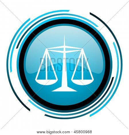 justice blue circle glossy icon