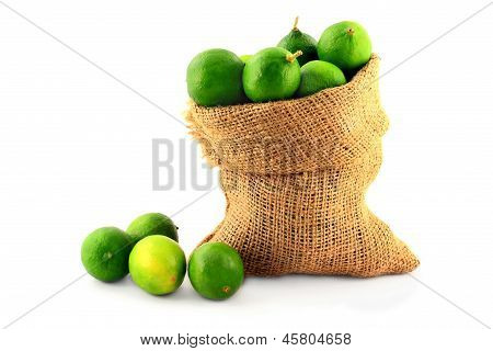 Key Limes In Burlap Bag On White.