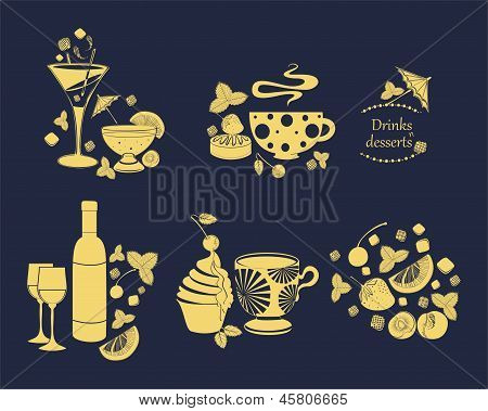 drinks and desserts vector design elements