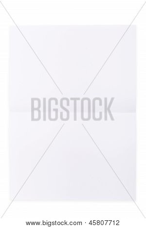White paper sheet folded in half isolated over a white background poster