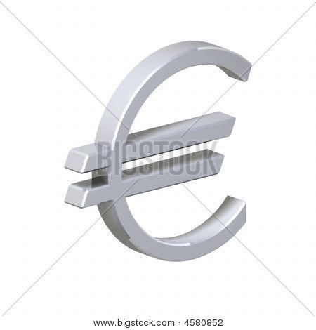 Silber Euro-Zeichen, isoliert auf weiss