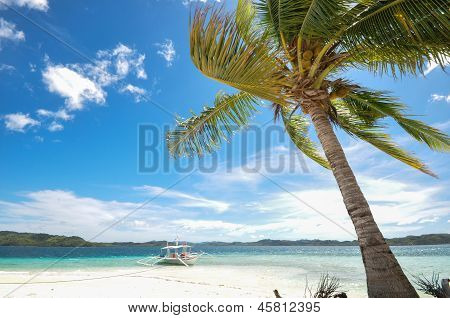 beautiful white beach and blue sky