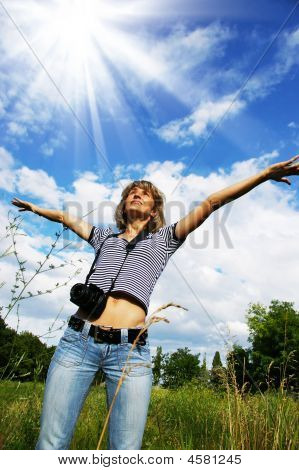 Woman With Photocamera