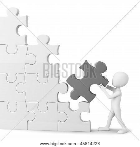 3D Little Man Collects Puzzle.