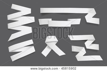 White blank paper ribbons vector illustration