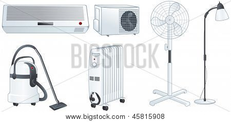 Home electric appliances set: air conditioner, fan, floor lamp, vacuum cleaner, oil heater. Isolated vector illustrations