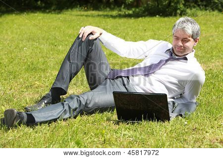 Businessman waiting the final outcome
