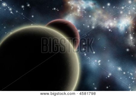 Digital created starfield with cosmic Nebula and planets poster