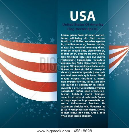 Patriotic wave background with stripes, stars