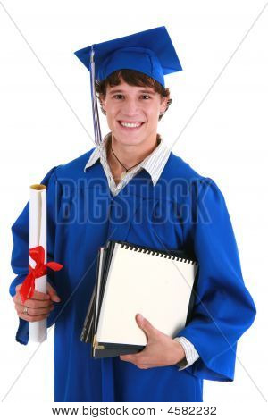 Young Happy Male College Student Holding Graduation Certificate