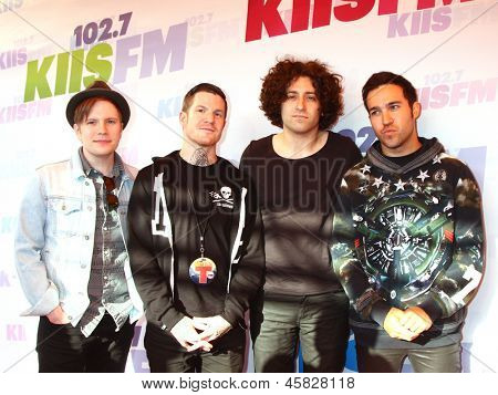 LOS ANGELES - MAY 11:  Patrick Stump, Andy Hurley, Joe Trohman and Pete Wentz of Fall Out Boy attend the 2013 Wango Tango concert at the Home Depot Center on May 11, 2013 in Carson, CA