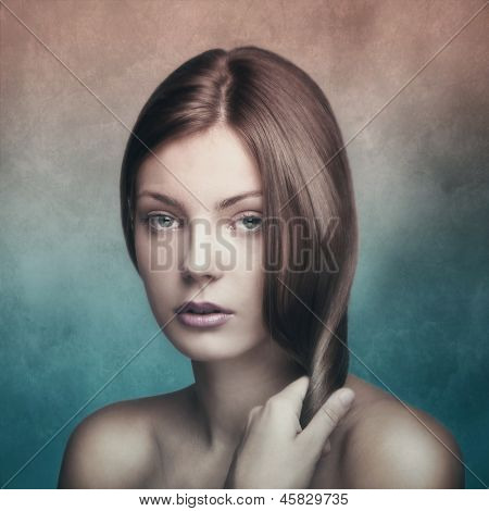 timeless beauty portrait of a young woman small amount of grain added