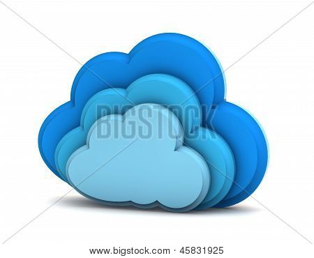 3D Cloud Computing Icon On A White Background