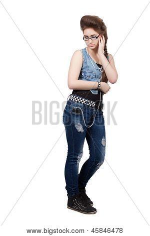 Teenage Girl In A Blue Denim Dress