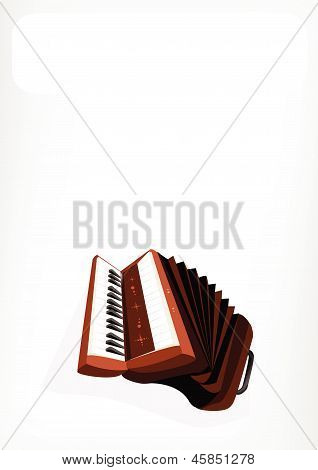 A Retro Accordion With A White Banner