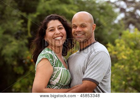 A happy mixed race couple