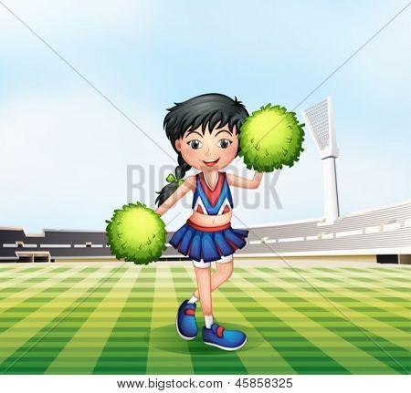 Illustration der Cheerleader in der Fußballplatz