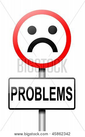 Illustration depicting a sign with a problem concept. poster