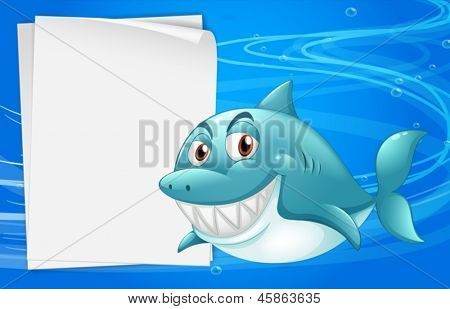 Illustration of a shark with an empty bondpaper under the sea