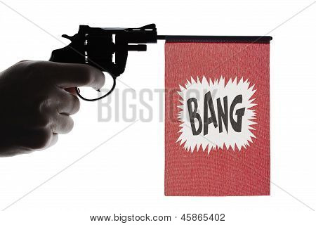 Gun crime concept of hand pistol showing a bang flag poster