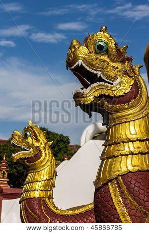 Thai Art, Naka Statue On Staircase