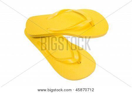 Flip Flops Yellow On White Background Flip Flops Yellow On White Background