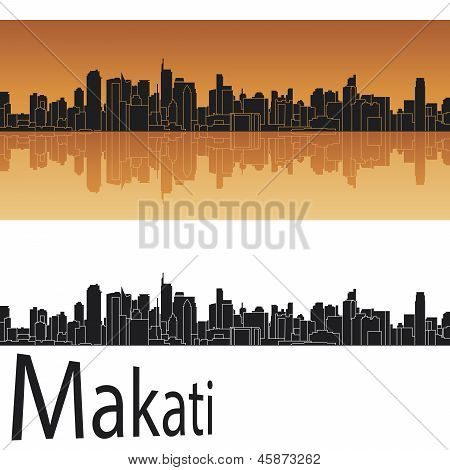Makati Skyline en fondo naranja